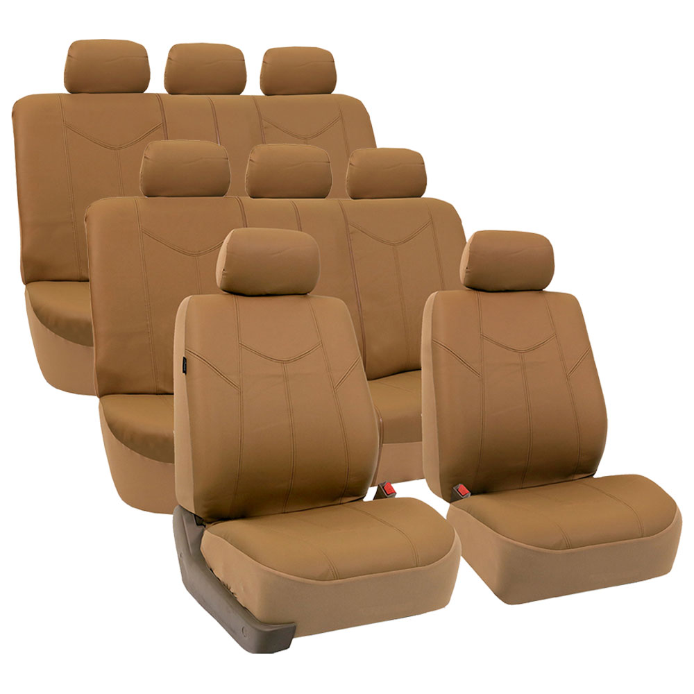 FH Group Tan Rome Faux Leather Airbag Compatible and Split Bench 8 Seaters Car Van Seat Covers, Full Set
