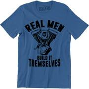 Real Men Build Themselves Mechanic Garage Motor Car Engine Mens Tee Shirt
