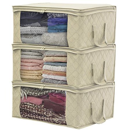 Sorbus Foldable Storage Bag Organizers, Large Clear Window & Carry Handles, Great for Clothes, Blankets, Closets, Bedrooms, and more (3 Pack) (Great Organizer)