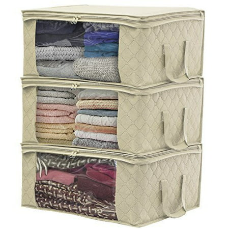 Gift Bag Organizer (Sorbus Foldable Storage Bag Organizers, Large Clear Window & Carry Handles, Great for Clothes, Blankets, Closets, Bedrooms, and more (3)