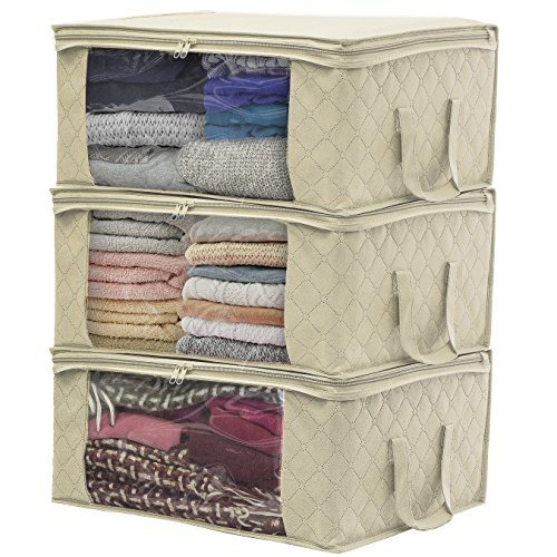 Foldable Clothes Storage Bag 4pack Large Capacity Closet Organizer Thick Fabric for Comforters Blankets Beige Color Bedding