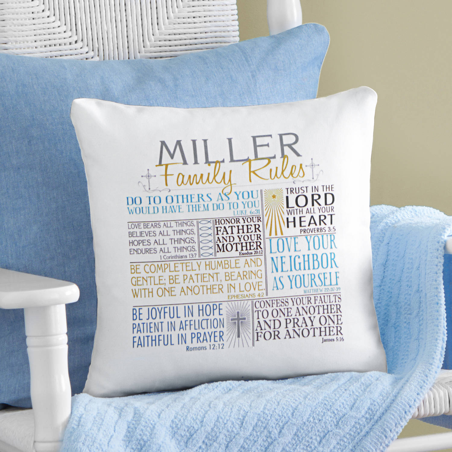 Personalized Rules of Faith Throw Pillow