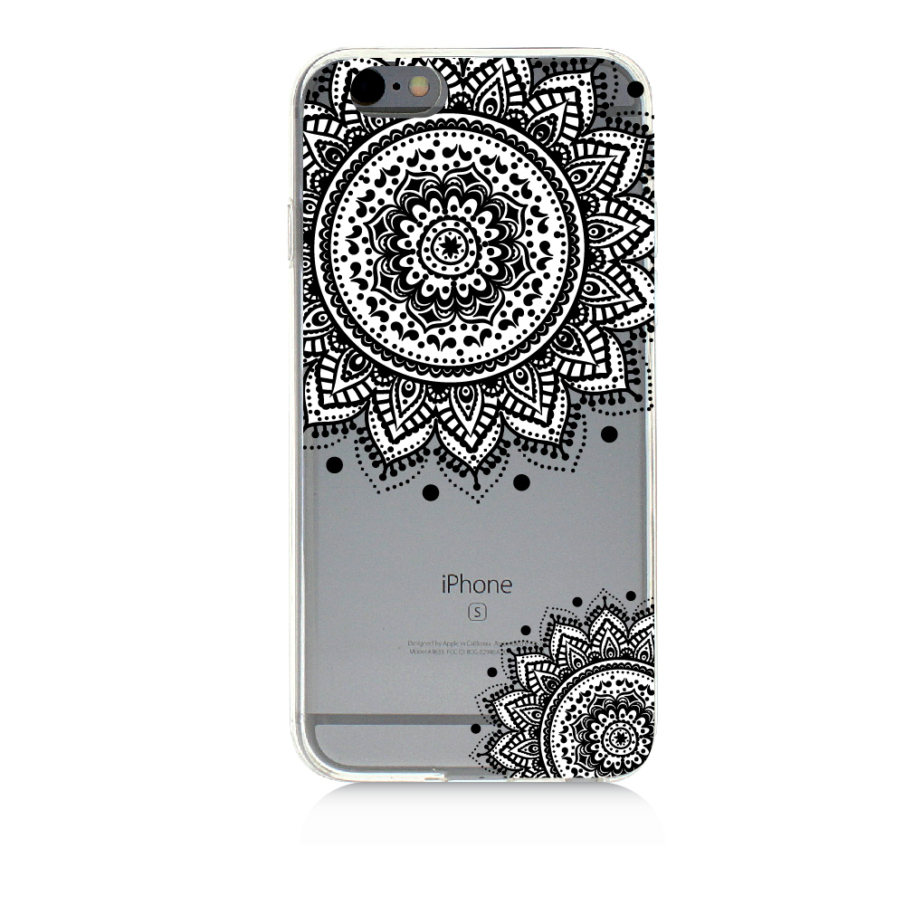 Mandala Corner Suns Zentangle Drawing | High Quality UV Printed Crystal Clear TPU Cellphone Case Slim Protection Bumper Drop Proof Cover For iPhone 5C