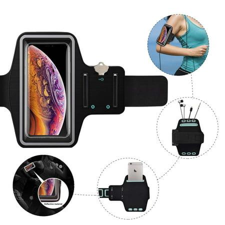 Njjex(1-Pack)Water Resistant Running Armband Case for Apple iPhone XR, XS Max, Xs, X, 8, 7, 6, 6S, SE, 5S 5C up to 6.5 inch w/Adjustable Elastic Band & Key Holder Slots for Running, Walking, Hiking