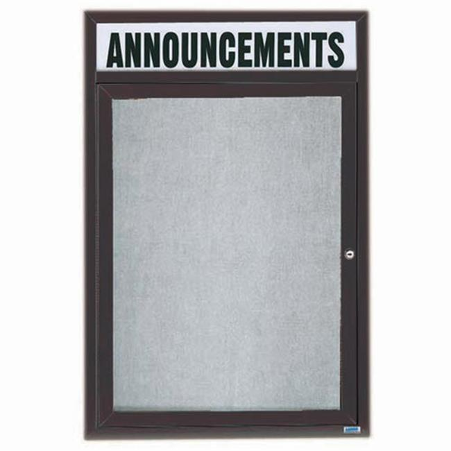 Aarco Products ODCC2418RHIBA 1-Door Illuminated Outdoor Enclosed Bulletin Board with Header - Bronze Anodized