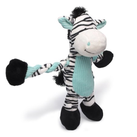 Charming Pet Pulleez Plush Squeaker Zebra Dog Toy, Brown/Pink, 11 Inch