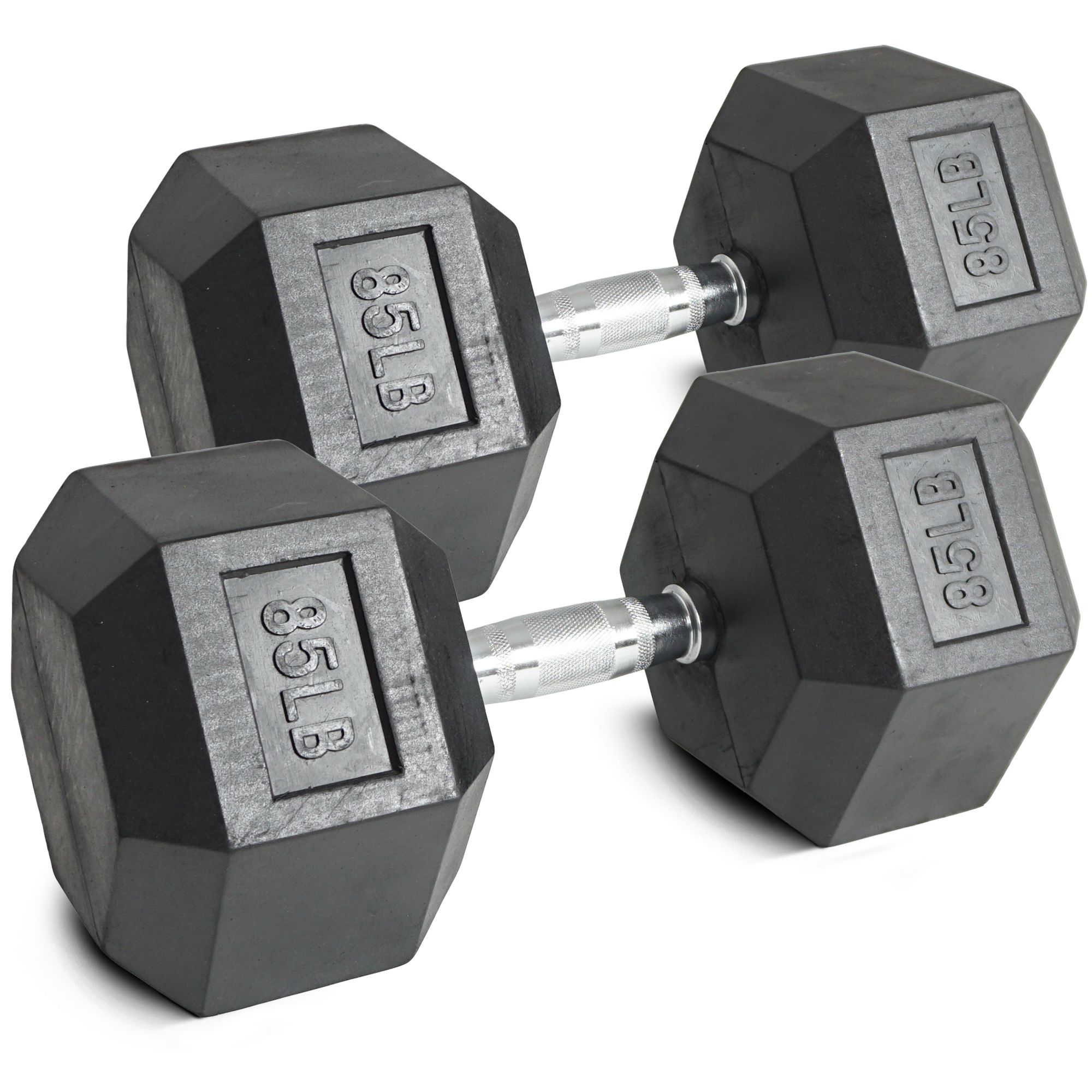 Pair 85 lb Black Rubber Coated Hex Dumbbells Weight Training Set 170 lb Fitness by Titan Fitness