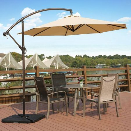 Bally 10 ft. Cantilever Hanging Patio Umbrella, Beige