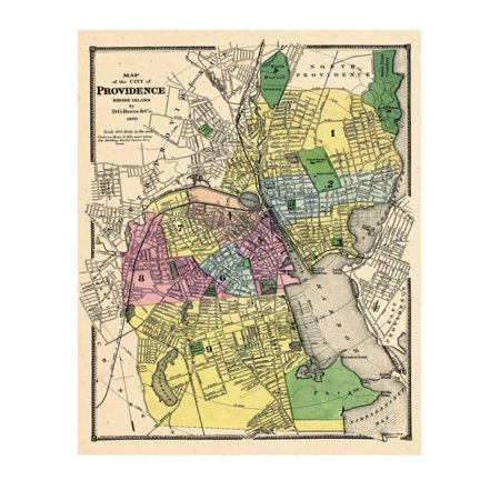 - 1870, Providence City Map, Rhode Island, United States Print Wall Art