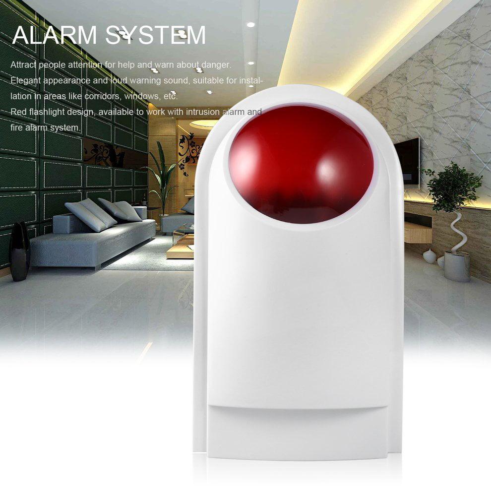 wired home security sound light strobe siren safety fire alarm