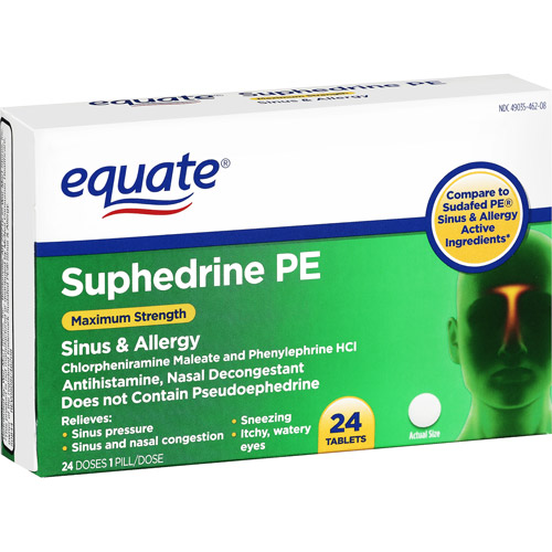 Equate: Suphedrine PE Sinus & Allergy Tablets Antihistamine/Nasal Decongestant, 24 Ct