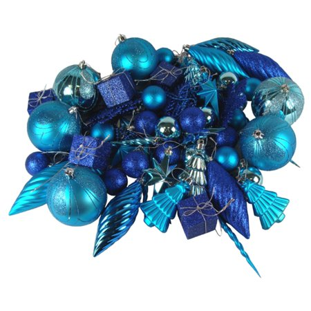 125 piece club pack of shatterproof regal peacock blue christmas ornaments - Peacock Blue Christmas Decorations