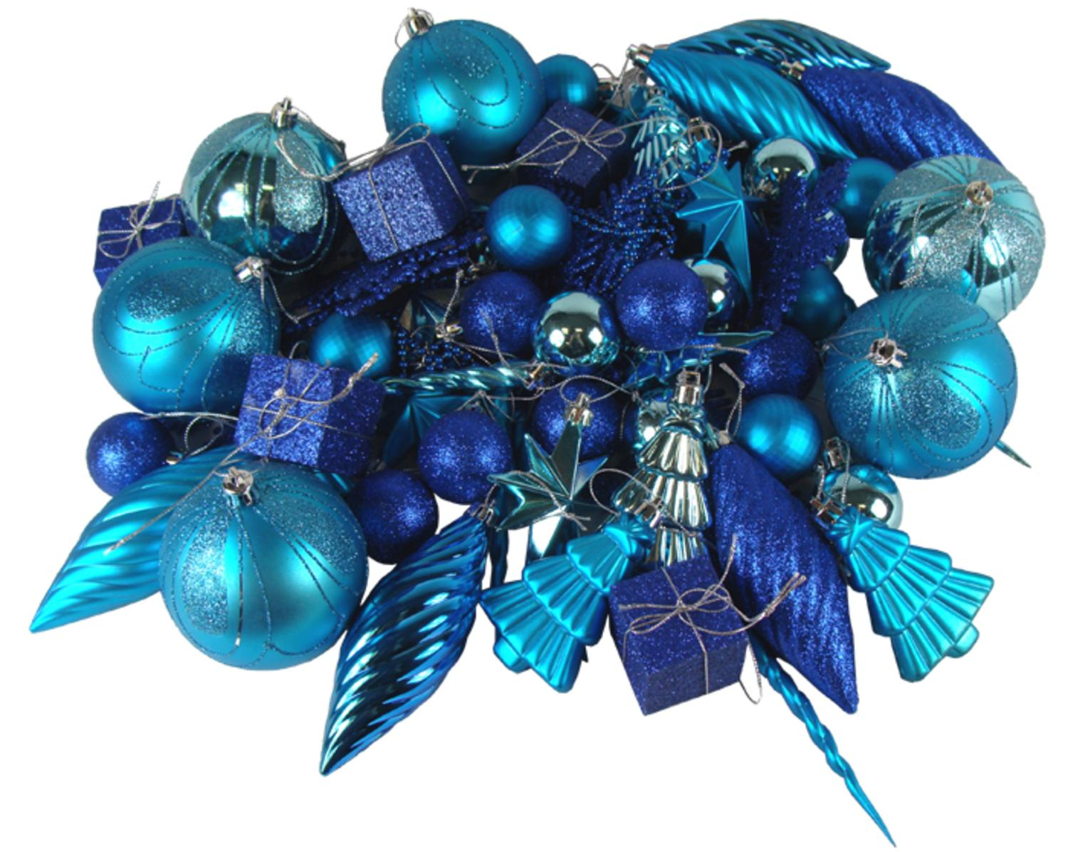 125 Piece Club Pack Of Shatterproof Regal Peacock Blue Christmas Ornaments