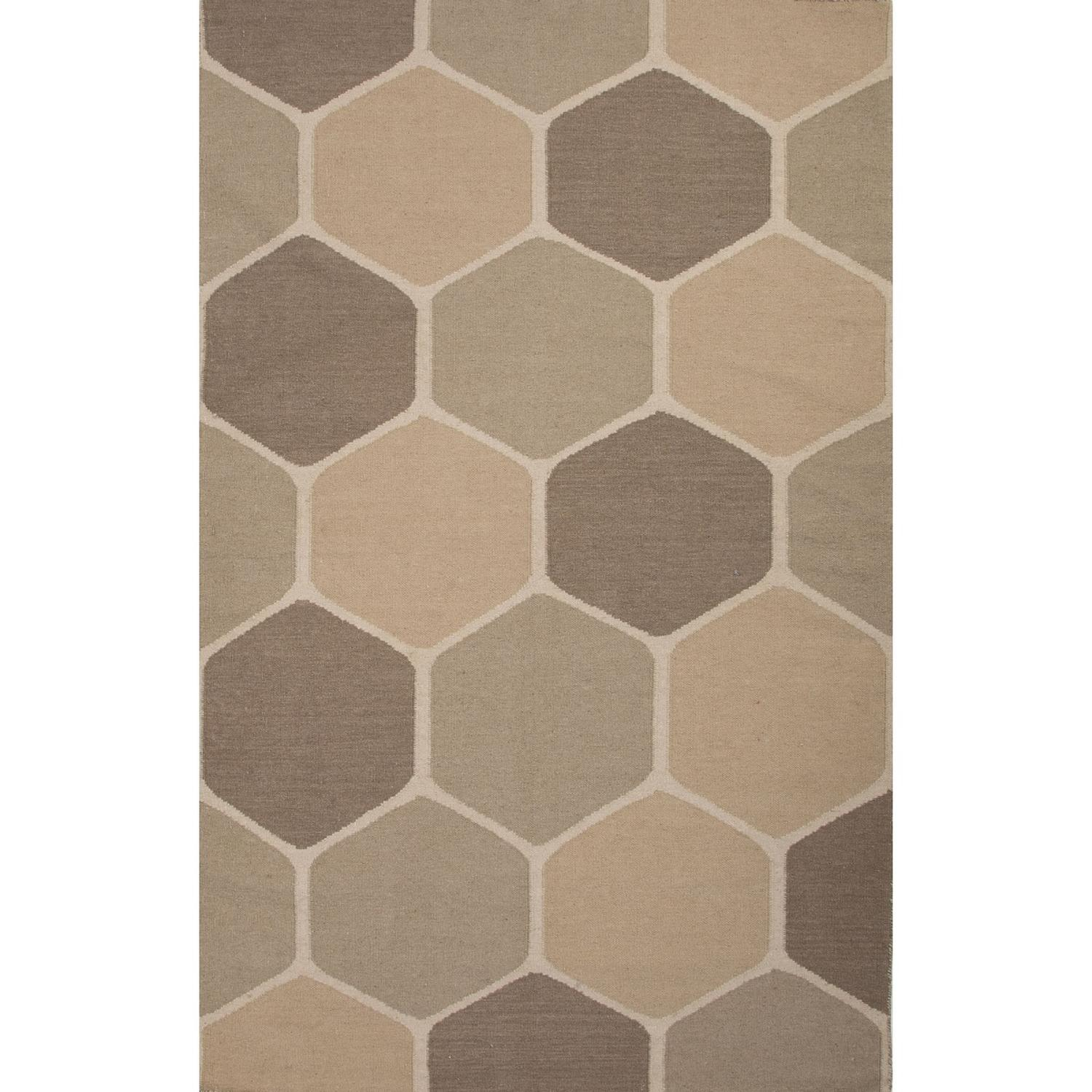 8' x 11' Camel, Sand and Liver Beehive Flat Weave Geometric Pattern Wool Area Throw Rug
