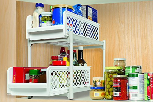 Store Food Supplies Ideaworks 2 Tier Kitchen Bathroom Storage Organizer