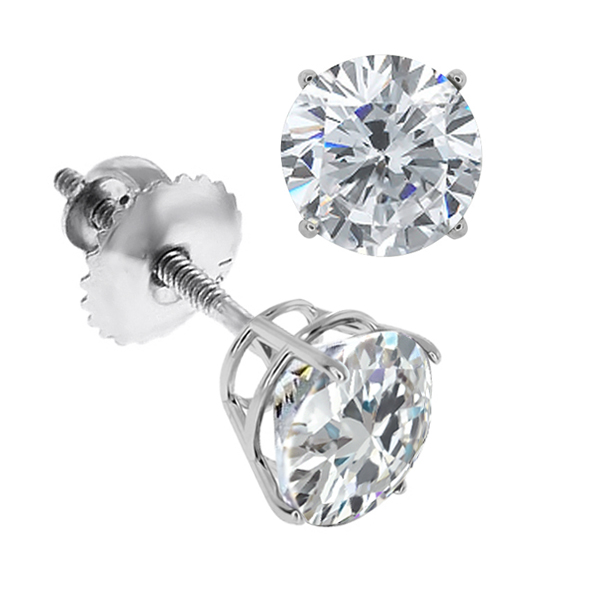 1 1/2 Carat Round Diamond Earrings Studs in 14K White Gold Screwback