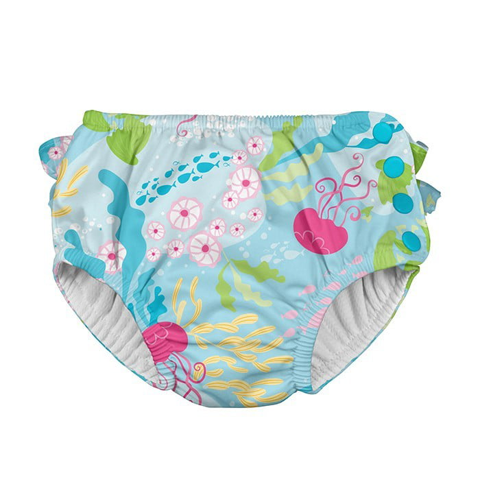 Girls Ruffle Snap Reusable Absorbent Swim Diaper i play