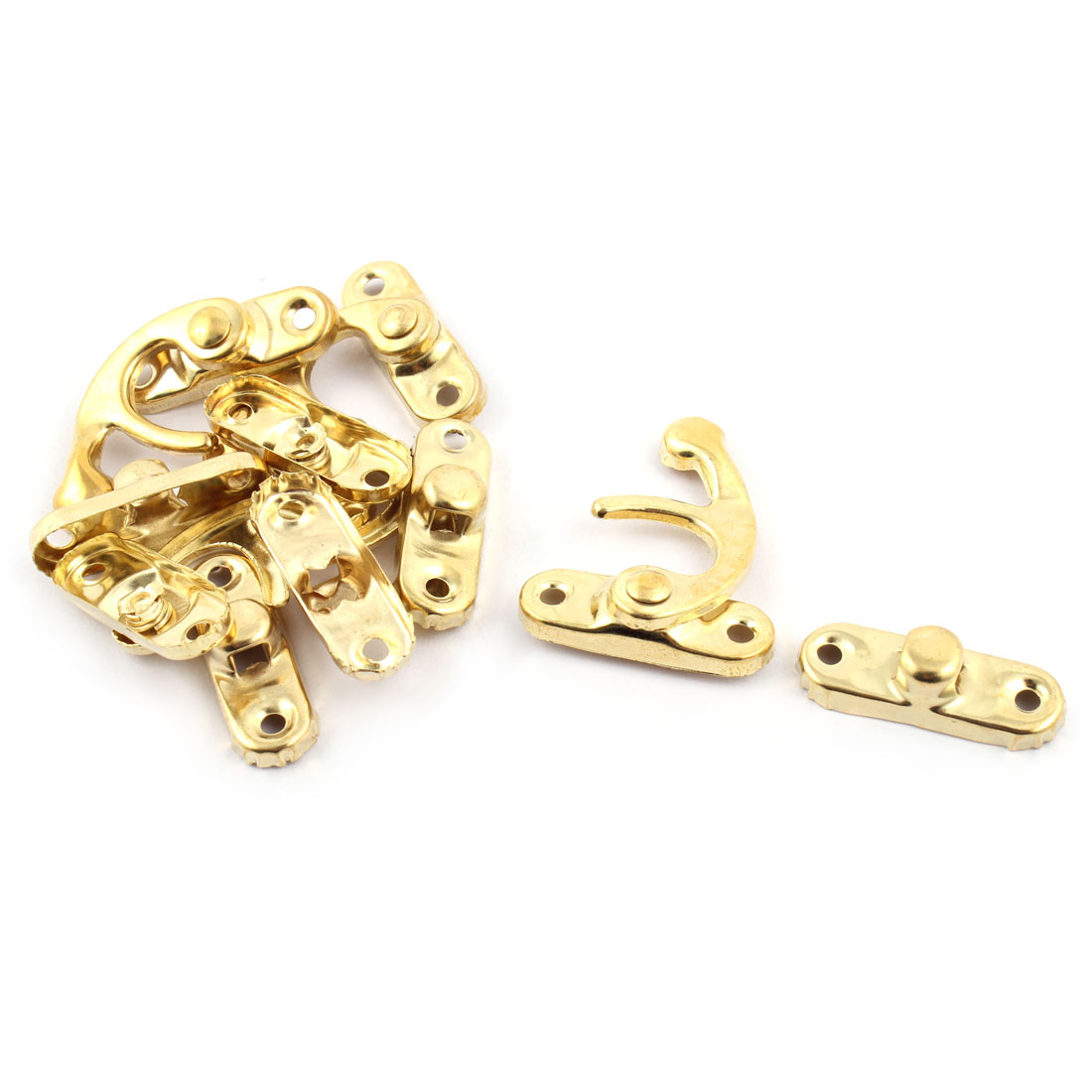 Home Metal Swing Bag Chest Hasp Box Latch Hook Lock Gold Tone 5 Sets