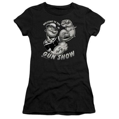 - Popeye The Sailor Man Cartoon Character Gun Show Juniors Sheer T-Shirt Tee