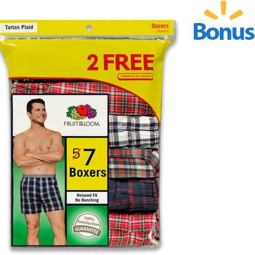 Bonus Pack! Fruit of the Loom Men's 5+2 Free Traditional Boxers