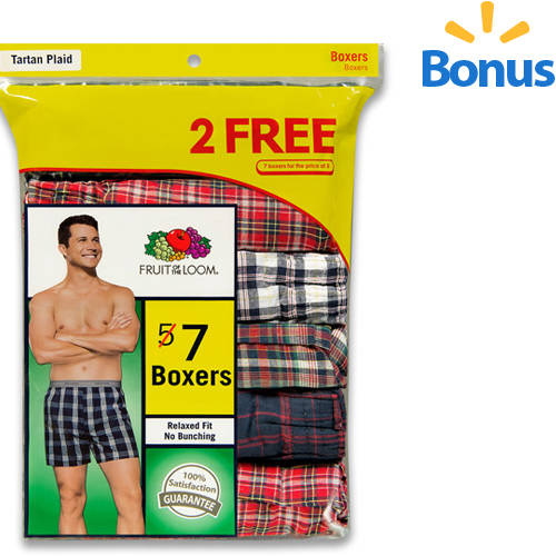 Bonus Pack! Fruit of the Loom Men's 5+2 Free Traditional Boxers
