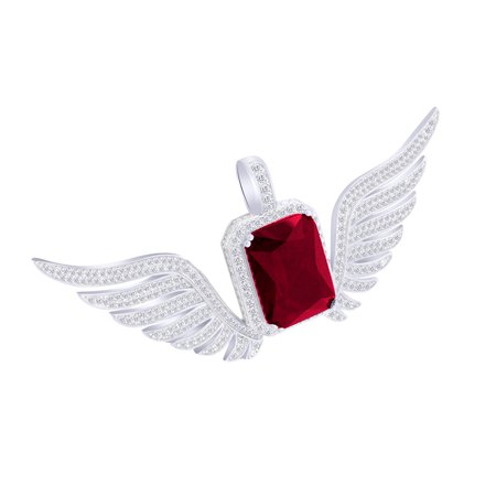 3 Carat (Ctw) White Natural Diamond & Siulated Garnet Iced Out Hip Hop Angel Wing Pendant 10K Solid White -