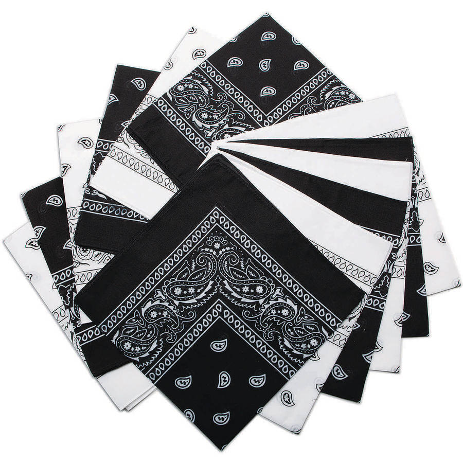 Bandanas, Black/White Western, Pack of 12