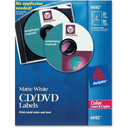 Avery Laser CD Labels, Matte White, 30/Pack