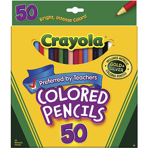 Crayola Colored Pencils, Long, 50-Pack