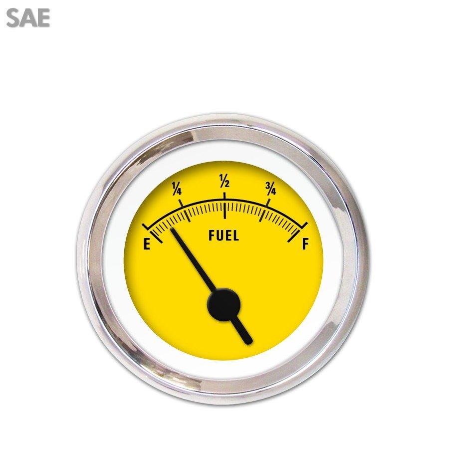 Fuel level Gauge - Rider Yellow , Black Vintage Needles, Chrome Trim Rings