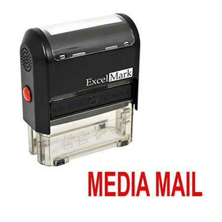 MEDIA MAIL Self Inking Rubber Stamp - Red Ink (42A1539WEB-R)