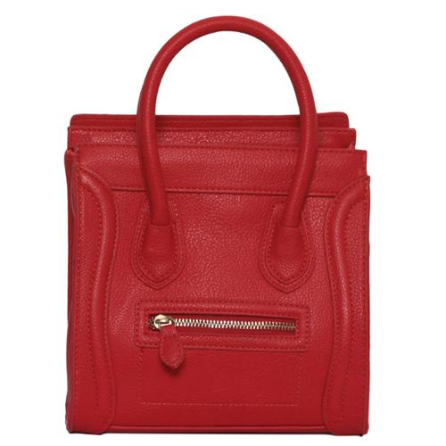 "Womens Designer Mini ""Poitiers"" Tote Structured Shoulder Handbag - Red"