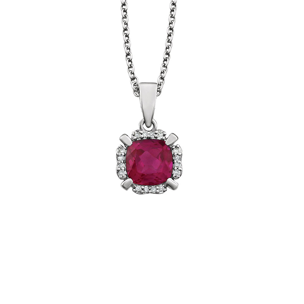 Cushion Created Ruby & Diamond Necklace in 14k White Gold, 18 Inch by Black Bow Jewelry Company