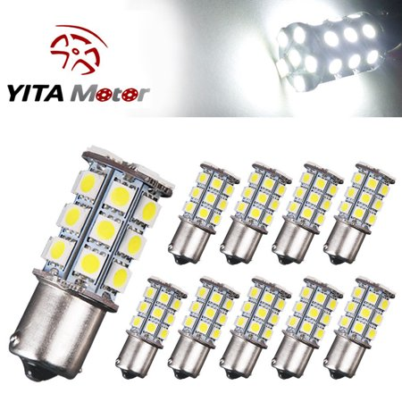 10x 1156 BA15S 27 SMD LED RV Camper Trailer White Light Bulbs 1141 1003 12V US 1156 Led 12v Bulb