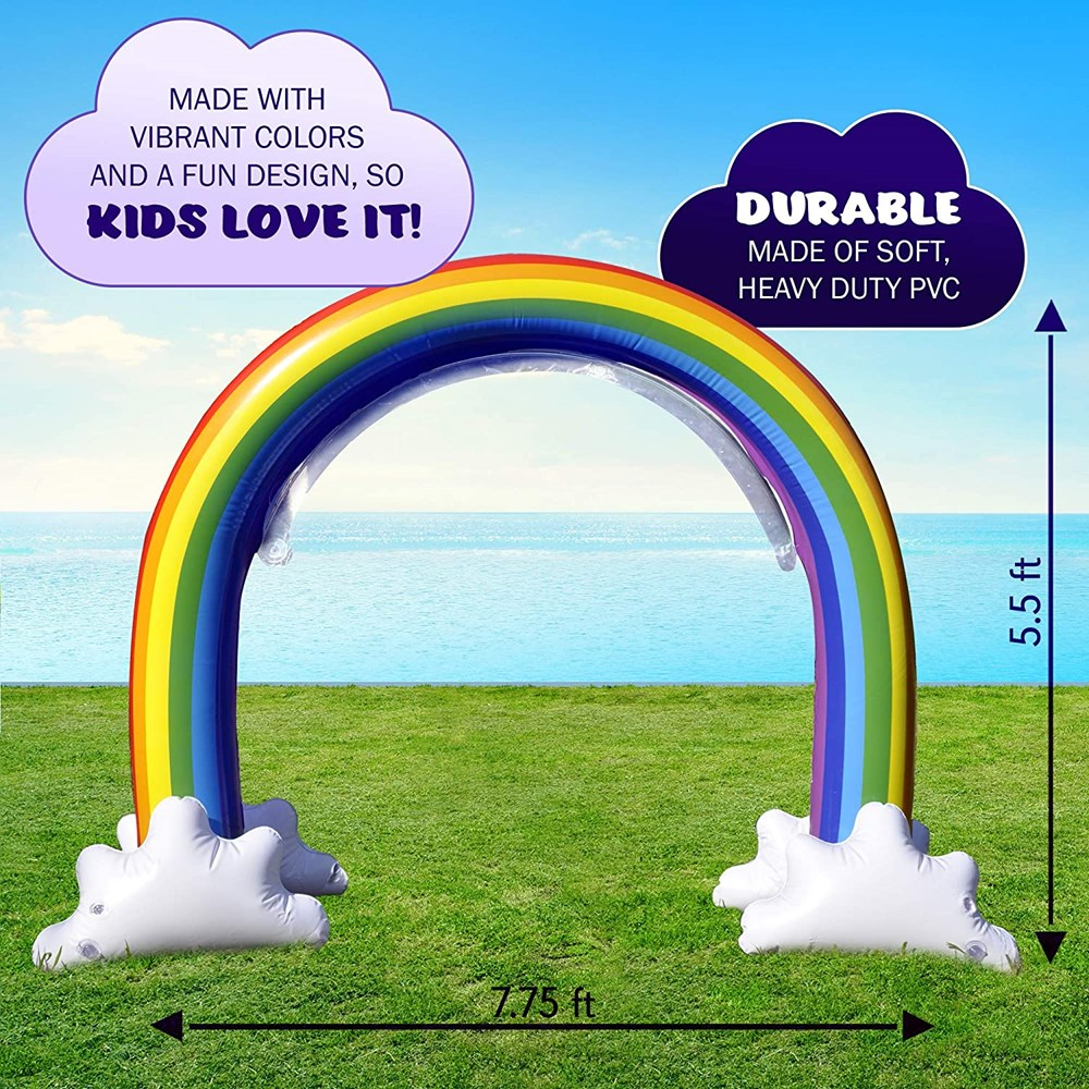 Huge Colorful Back Yard Toddler Summer Toys Easy to Set Up Funyole Inflatable Rainbow Sprinkler for Kids Great Party Prop Kids Summer Outdoor Lawn Toy Fun Water Play Sprinkler for Toddlers