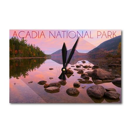 Acadia National Park, Maine - Jordan Pond - Lantern Press Photography (Acrylic Wall Clock) (Jordan Wall Clock)
