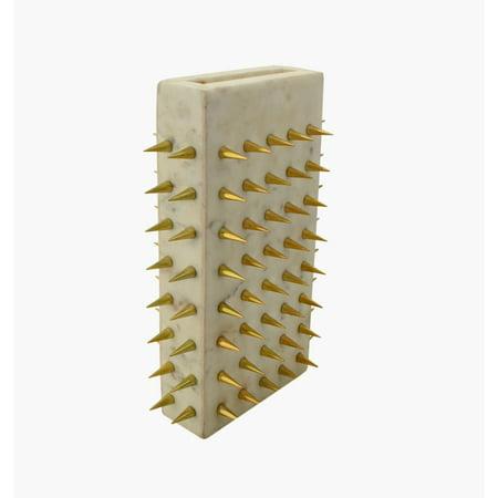 R16 Home Furniture AO-13WG White Euclid Gold Stud Vase - image 1 of 1