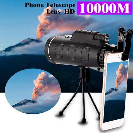 Portable 40x60 HD Waterproof Universal Mobile Phone Telescope,Focus Zoom Optical Lens Monocular Telescope+ Tripod + Mini Clip for Outdoor Camping Hunting Traveling Christmas Gift 100 X Zoom Mini