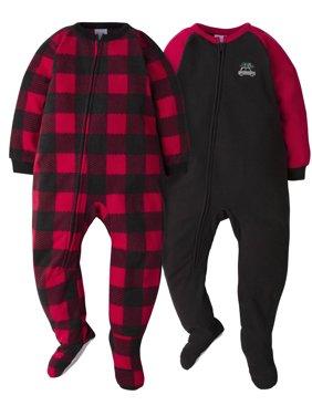 Gerber Toddler Boy Microfleece Blanket Sleepers Pajamas, 2-Pack
