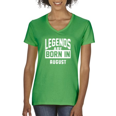 Trendy USA 661 - Women's V-Neck T-Shirt Legends Are Born In August Leo Virgo Small Kelly Green