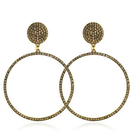 Wholesale Rhinestone Jewelry (Fancyleo New Luxury Exquisite Big Round Rhinestone Earrings for Women Girls Wedding Jewelry Fashion Dangle Earrings)