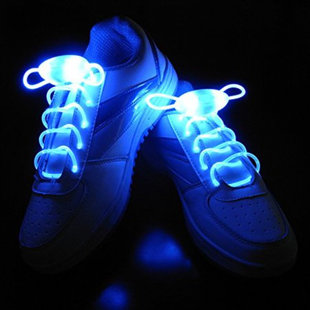 IClover LED Shoe Laces Light Up Glow Flashing Shoelaces with 3 Modes for Halloween Party Dancing Running Cycling Hiking Blue