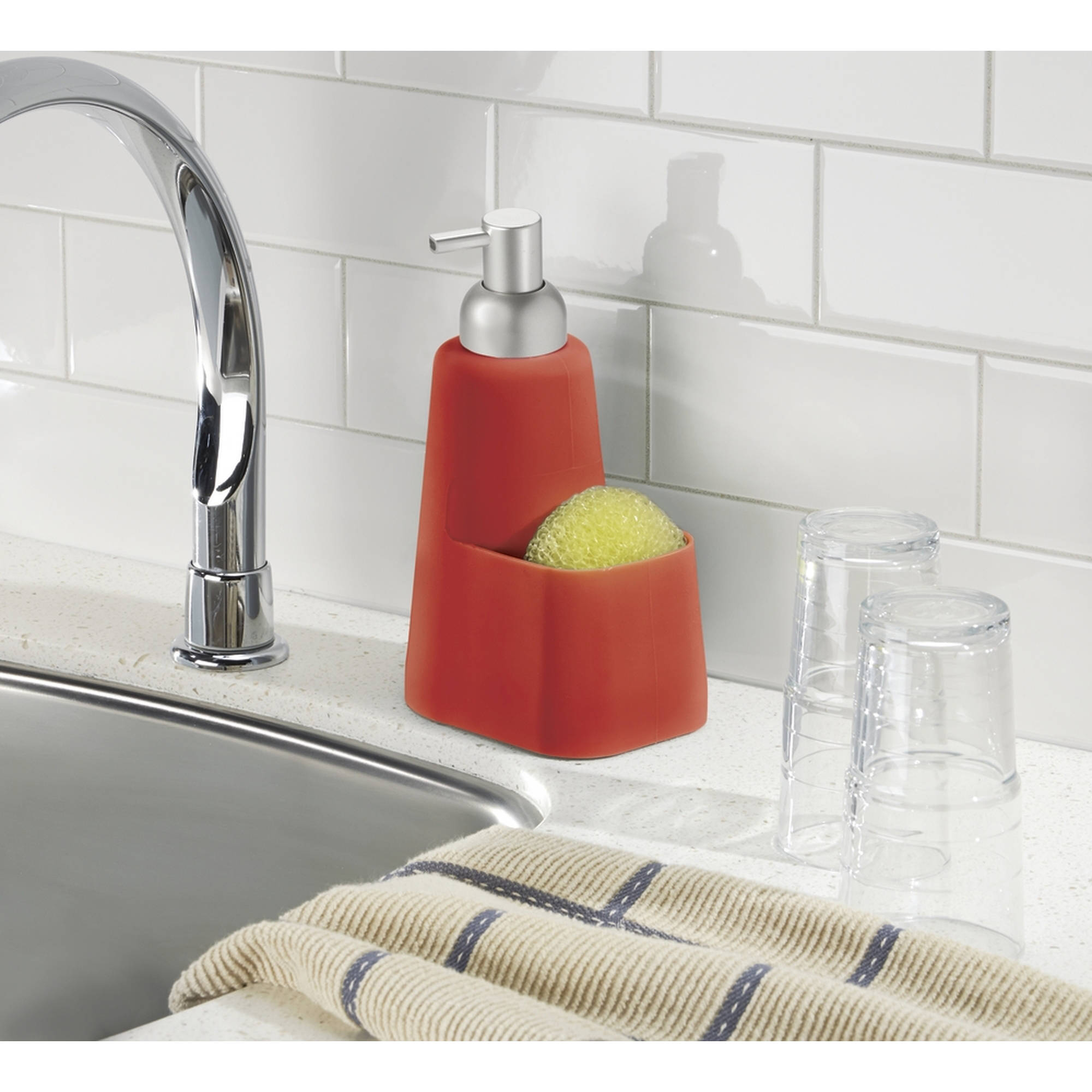 InterDesign Lineo Kitchen Soap Dispenser Pump and Sponge Caddy Organizer, Red/Brushed