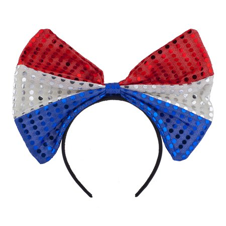 Lux Accessories Red Blue Silver Glitter American Flag Inspired Big Bow Headband (Glitter Head Bows)