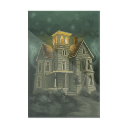 Haunted House - Halloween Oil Painting - Lantern Press Artwork (8x12 Acrylic Wall Art Gallery Quality)