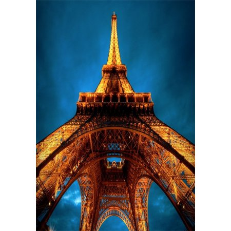 Night In Paris Theme (HelloDecor Polyster Backdrop 5x7ft Photography Background Structure Eiffel Tower Romantic Paris Golden Light Night Sky Scenery theme Background Backdrop Video Photo Studio)