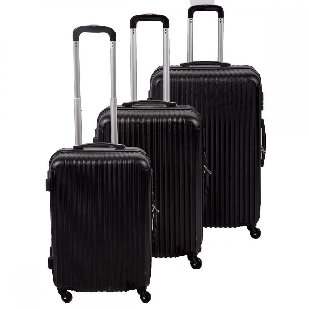 Luggage Set Black 3 Pcs Travel Bag ABS Trolley Suitcase