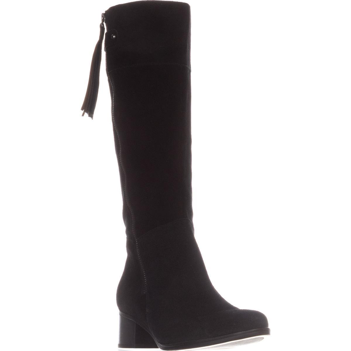 Womens Naturalizer Demi Riding Boots, Black Suede by Naturalizer