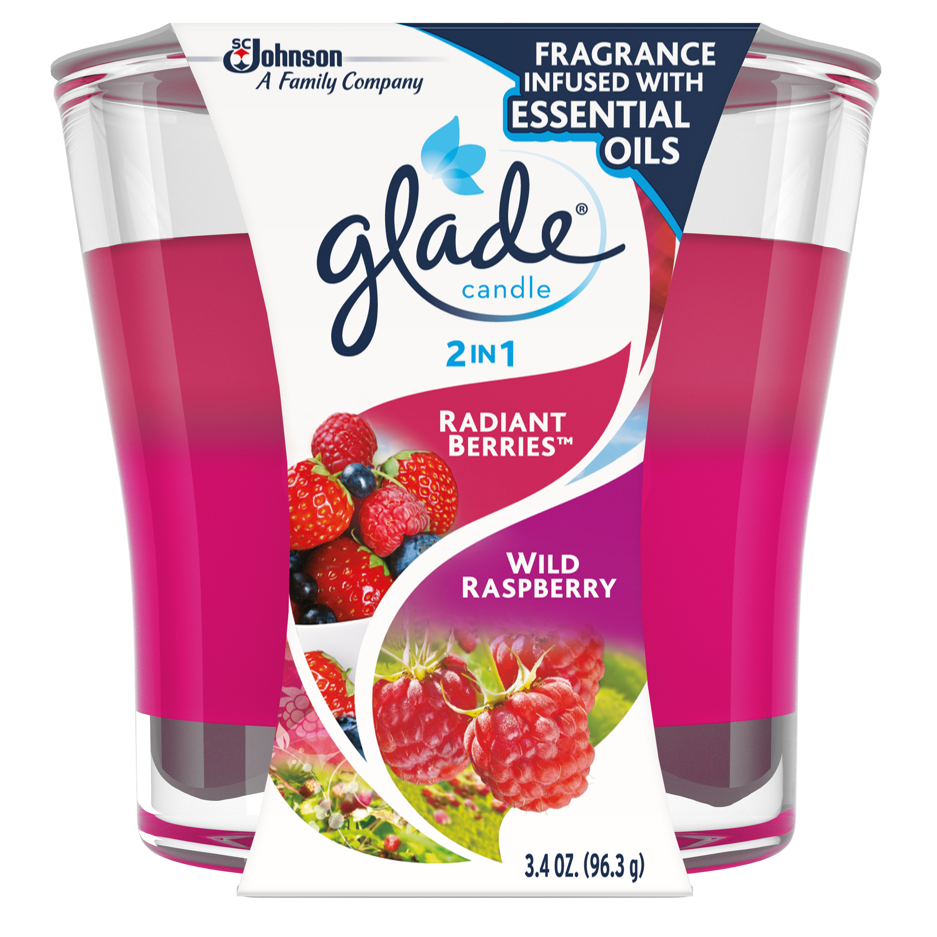 Glade Candle, 2 in 1: Radiant Berries & Wild Raspberries, 3.4 oz.