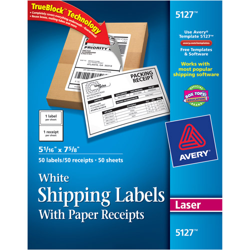 "Avery White Shipping Labels with Paper Receipts with TrueBlock Technology for Laser Printers, 5-1/16"" x 7-5/8"", Pack of 100"
